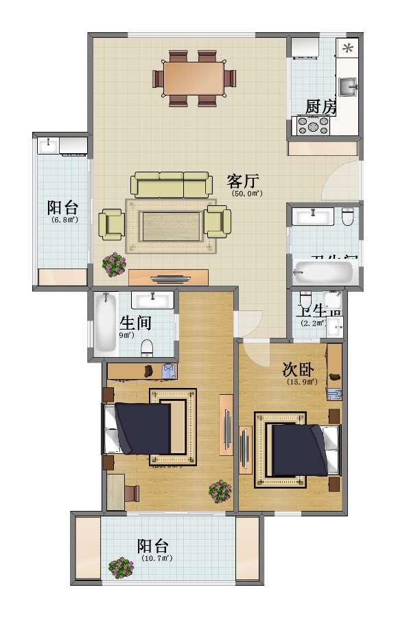 升华·悦西溪2居室