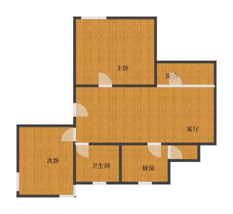 水木青华・小小岛 小小岛 水木青华2室1厅1卫1厨74.10㎡户型图