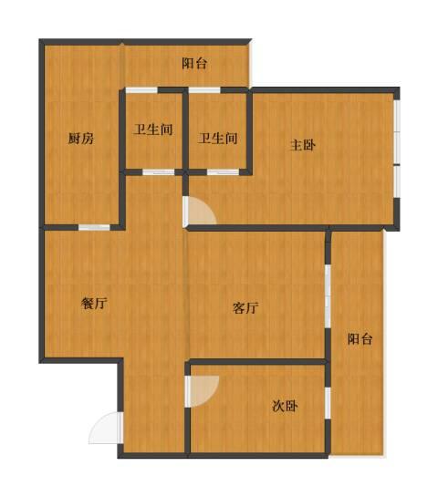 绿地长兴家园2室2厅1卫2厨74.20㎡户型图