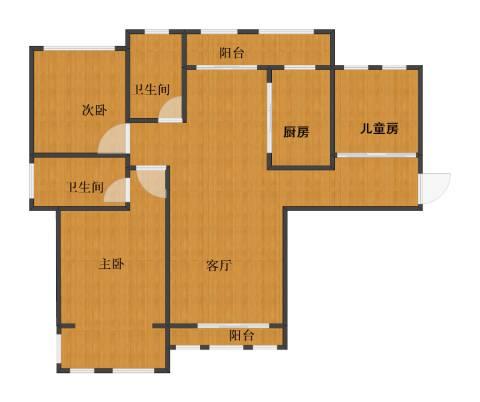 太平桥小区3室1厅1卫2厨98.00㎡户型图
