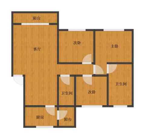 亲亲我家别墅3室1厅1卫2厨71.00㎡户型图