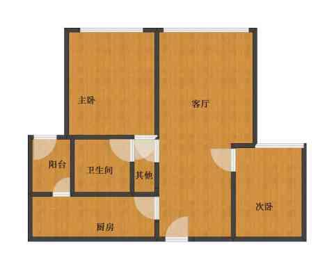 伯爵大地2室1厅1卫1厨53.00㎡户型图