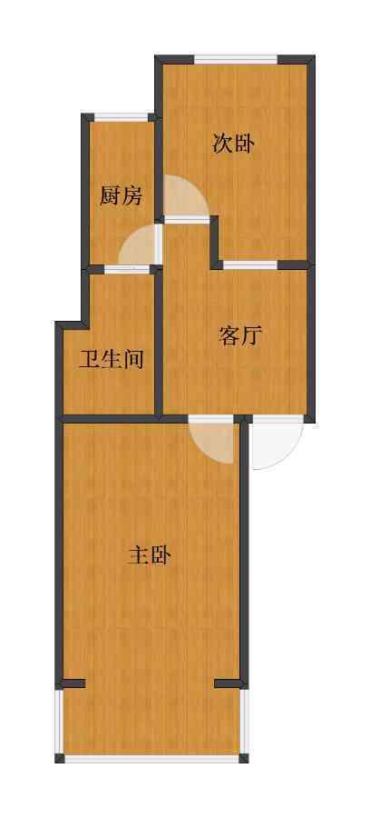 平乐园小区2室1厅1卫1厨40.50㎡户型图