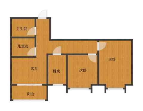 百欣花园3室1厅1卫1厨60.30㎡户型图