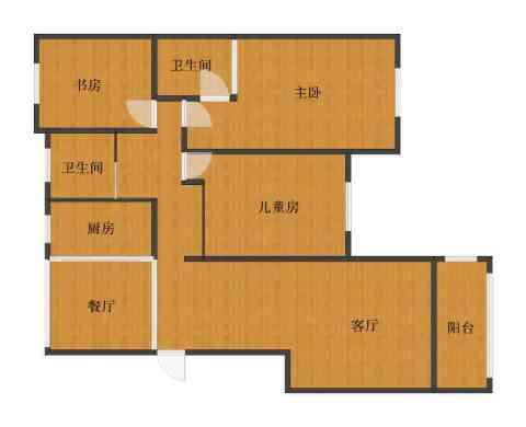 橘郡3室2厅1卫2厨93.00㎡户型图