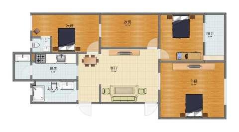 西三环北路109号院4室1厅1卫2厨100.00㎡户型图