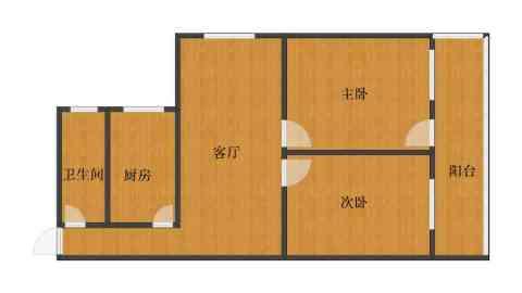 中建小区2室1厅1卫1厨69.10㎡户型图