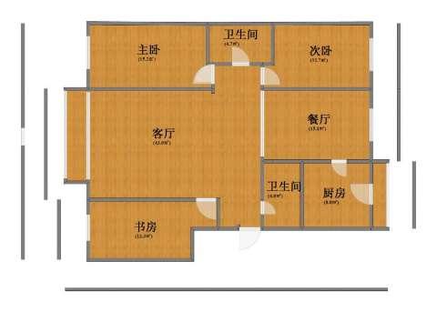 水晶尚品3室2厅1卫2厨123.10㎡户型图