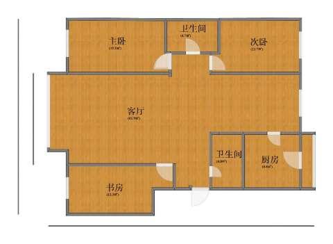水晶尚品3室1厅1卫2厨124.10㎡户型图