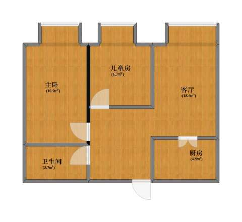 文华街三号院2室1厅1卫1厨48.80㎡户型图