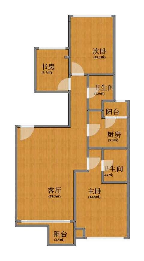 i都会3室1厅1卫2厨74.00㎡户型图