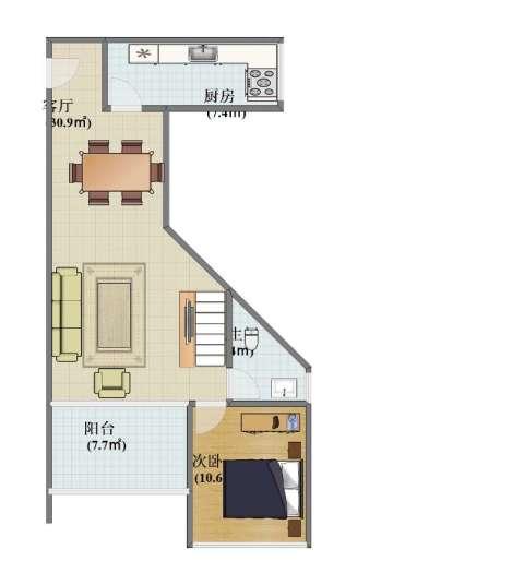 叠彩城一期1室1厅1卫1厨60.00㎡户型图