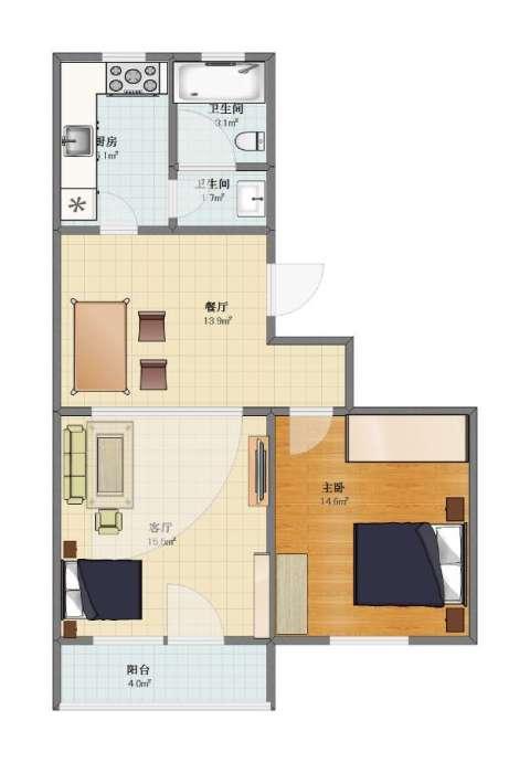 罗庄南里1室2厅1卫2厨59.00㎡户型图