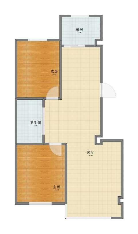 新城丽都2室1厅1卫1厨68.00㎡户型图