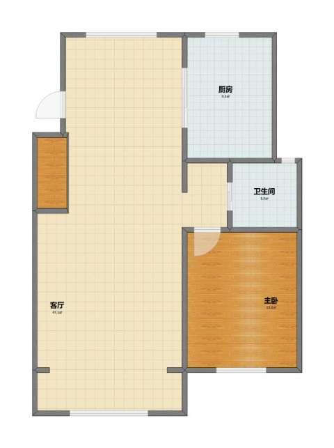 文汇苑1室1厅1卫1厨76.00㎡户型图