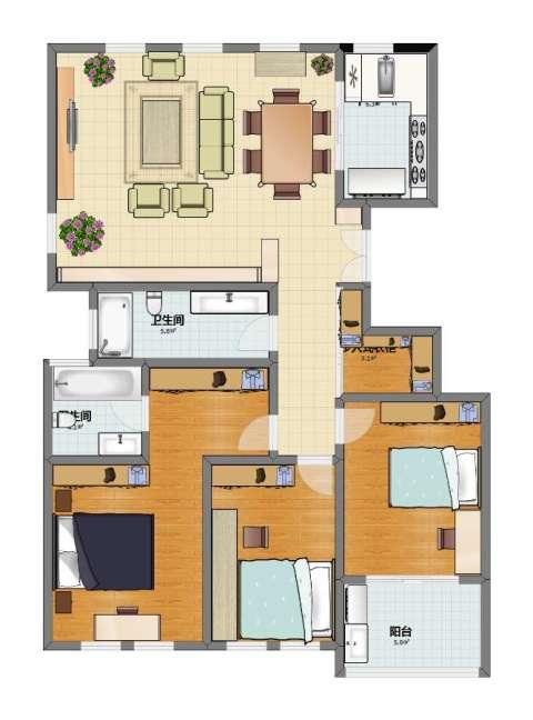 三金G65地块3室1厅1卫2厨107.00㎡户型图
