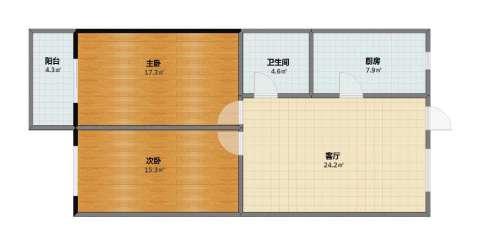 苏堤公寓2室1厅1卫1厨74.00㎡户型图
