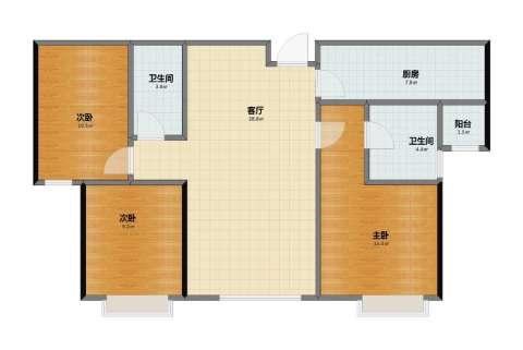 融创中央学府别墅3室1厅1卫2厨80.40㎡户型图