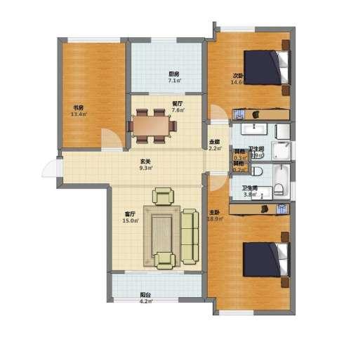 环球贸易中心3室2厅1卫2厨102.00㎡户型图