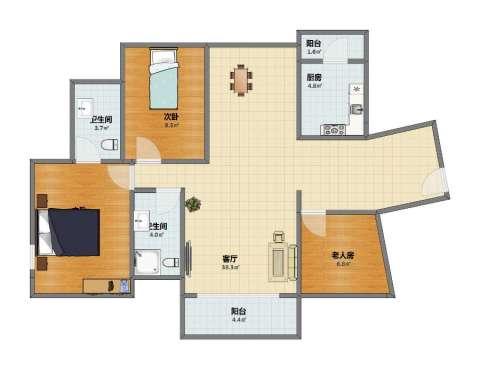 水岸豪门2室1厅1卫2厨86.00㎡户型图