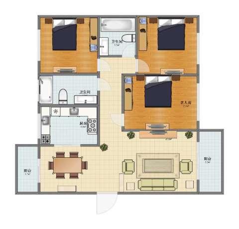 好日子大家园3室1厅1卫2厨115.30㎡户型图