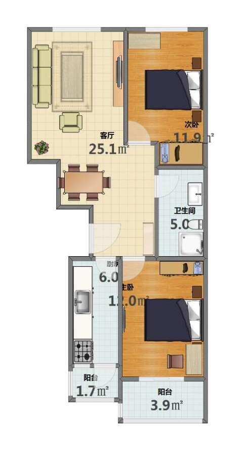 华龙苑北里2室1厅1卫1厨66.00㎡户型图