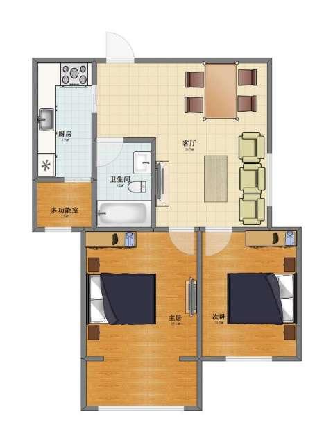 上和城2室1厅1卫1厨61.10㎡户型图