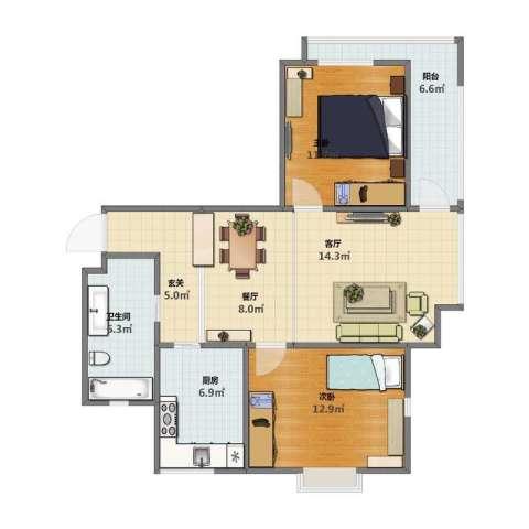 青年公社2室2厅1卫1厨72.00㎡户型图