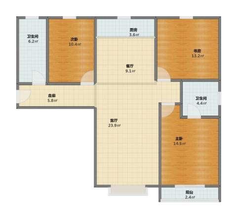 盛和嘉园3室2厅1卫2厨95.00㎡户型图