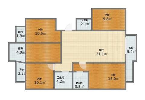 新华大街甲256号4室1厅1卫3厨109.40㎡户型图