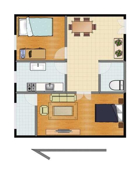 枣营北里2室1厅1卫1厨57.00㎡户型图
