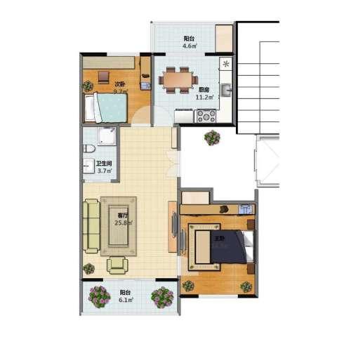 清河湾2室1厅1卫1厨76.10㎡户型图
