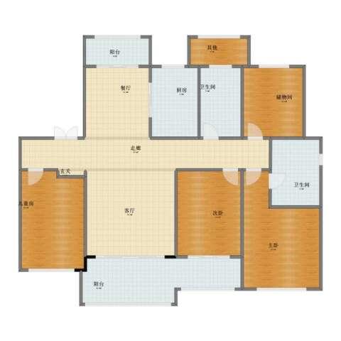 西新桥2村3室2厅1卫2厨164.00㎡户型图