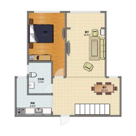 新新尚层1室2厅1卫1厨66.00㎡户型图