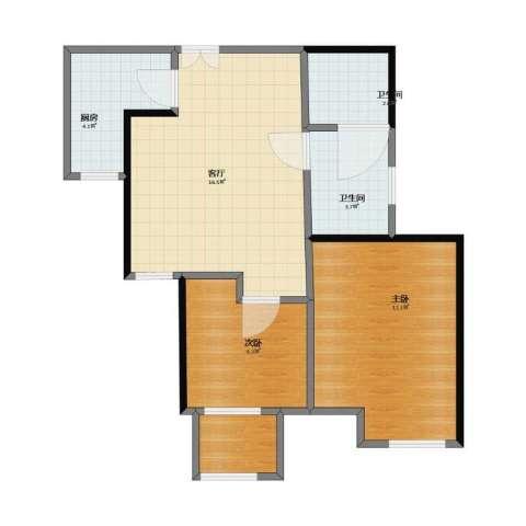 巨凝金水岸2室1厅1卫2厨47.30㎡户型图