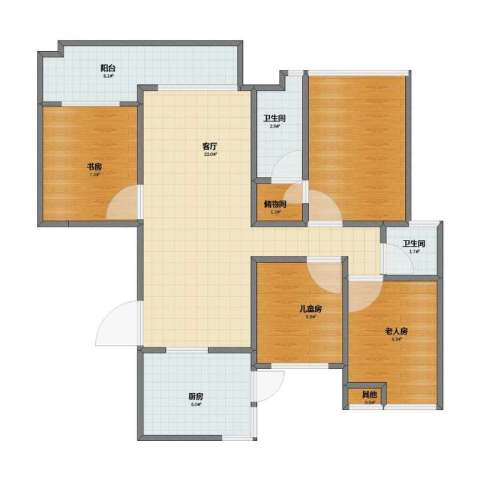 保利外滩花园别墅3室1厅1卫2厨70.20㎡户型图