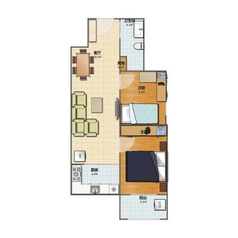北张家园2室1厅1卫1厨44.50㎡户型图