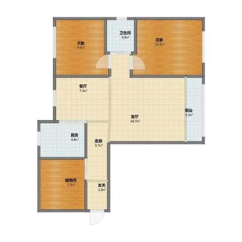 颐泊湾2室2厅1卫1厨70.10㎡户型图