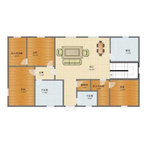 月光小区3室1厅1卫2厨145.00㎡户型图