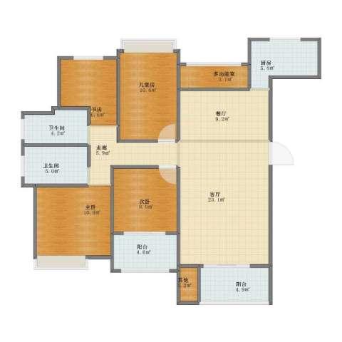 中海国际社区橙郡4室2厅1卫2厨105.00㎡户型图