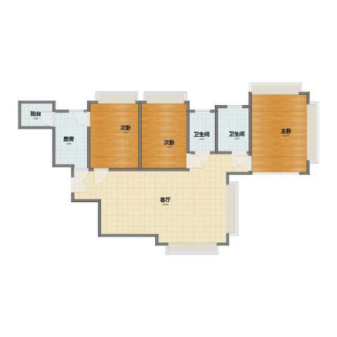 湖畔天下3室1厅1卫2厨73.10㎡户型图