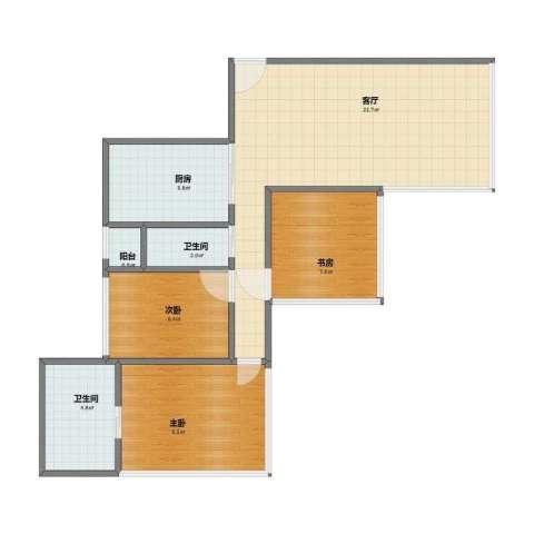 湖畔天下3室1厅1卫2厨59.00㎡户型图