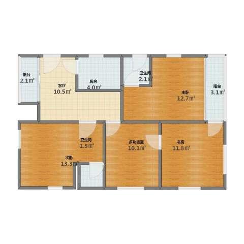 南方国际广场2期3室1厅1卫2厨71.20㎡户型图