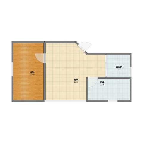 晶波坊1室1厅1卫1厨42.00㎡户型图