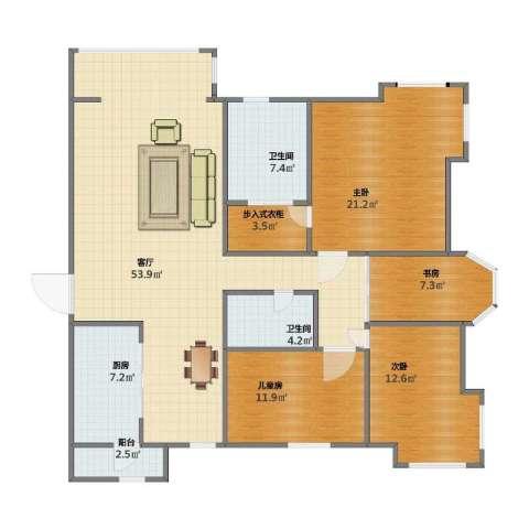 海河大道瑞海名苑4室1厅1卫2厨132.00㎡户型图