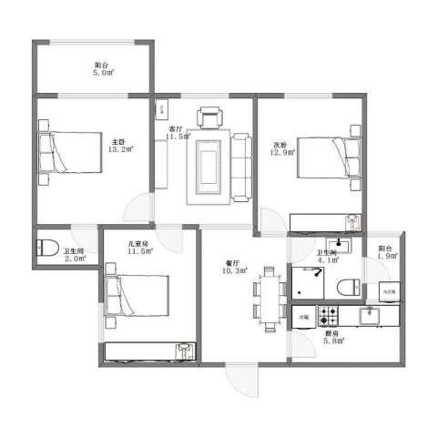 上城一号3室2厅1卫2厨78.30㎡户型图