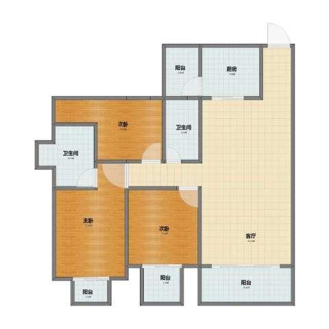 奥园康城B区3室1厅1卫2厨86.00㎡户型图