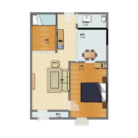 奕人花园2室1厅1卫1厨44.50㎡户型图