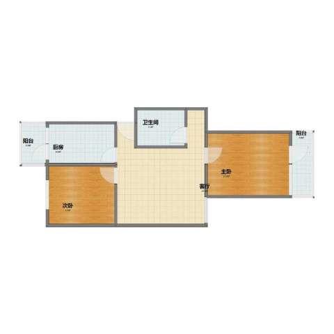 王官庄小区2室1厅1卫1厨56.50㎡户型图