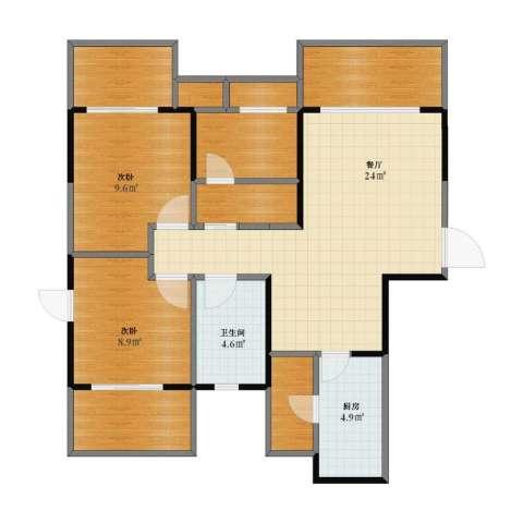 保利心语花园别墅2室1厅1卫1厨76.60㎡户型图